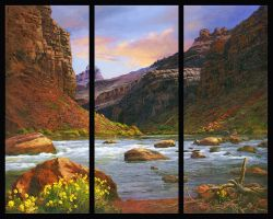 Entering Red Canyon-Triptych